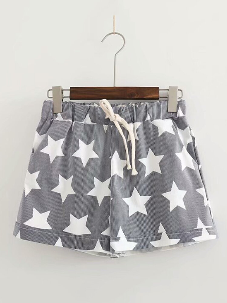 Best Stars Print Loose Drawstring Waist Casual Shorts You Can Buy