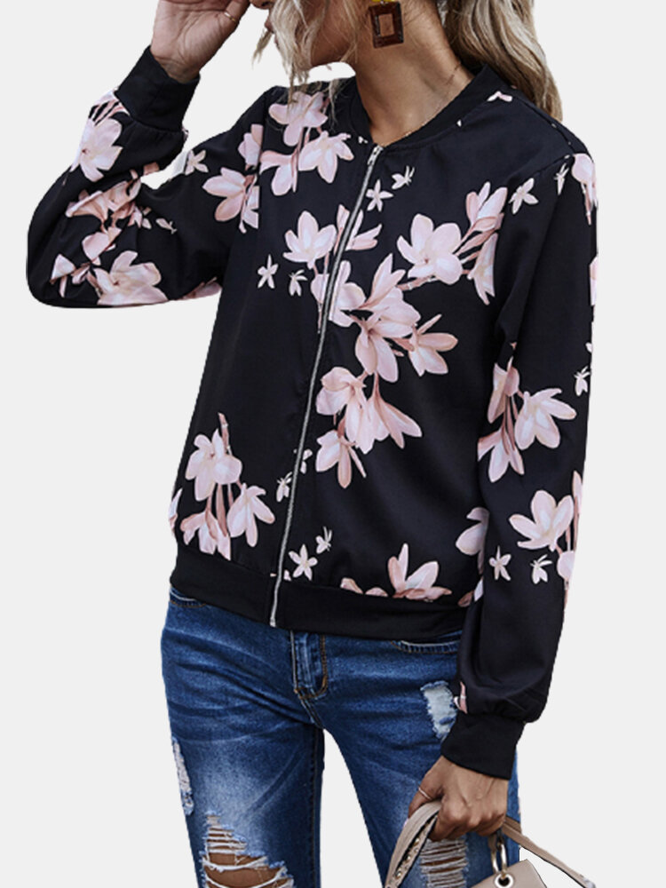 Best Floral Printed Zipper Fly Casual Long Sleeve Baseball Jacket You Can Buy