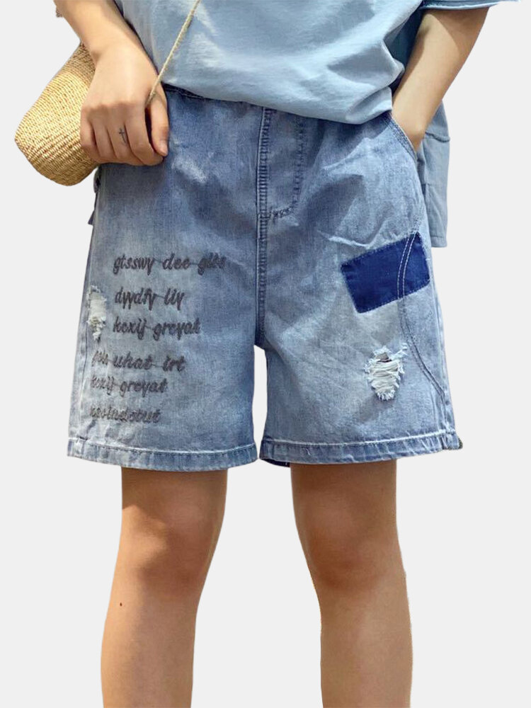 Best Letters Embroidery Elastic Waist Denim Shorts For Women You Can Buy