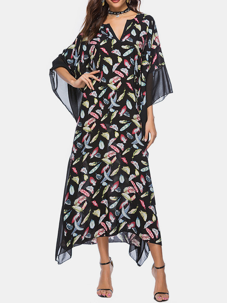 Best Feather Print Patchwork 3/4 Sleeve Maxi Dress For Women You Can Buy