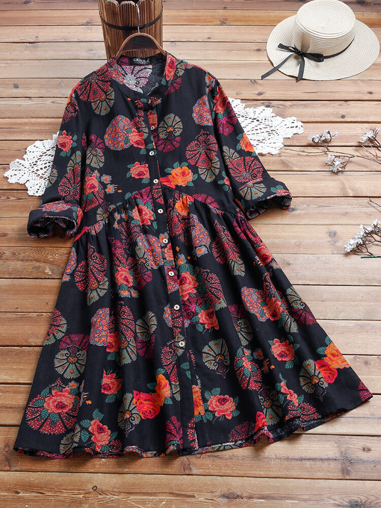 Best Ethnic Floral Print Long Sleeve Vintage Dress For Women You Can Buy