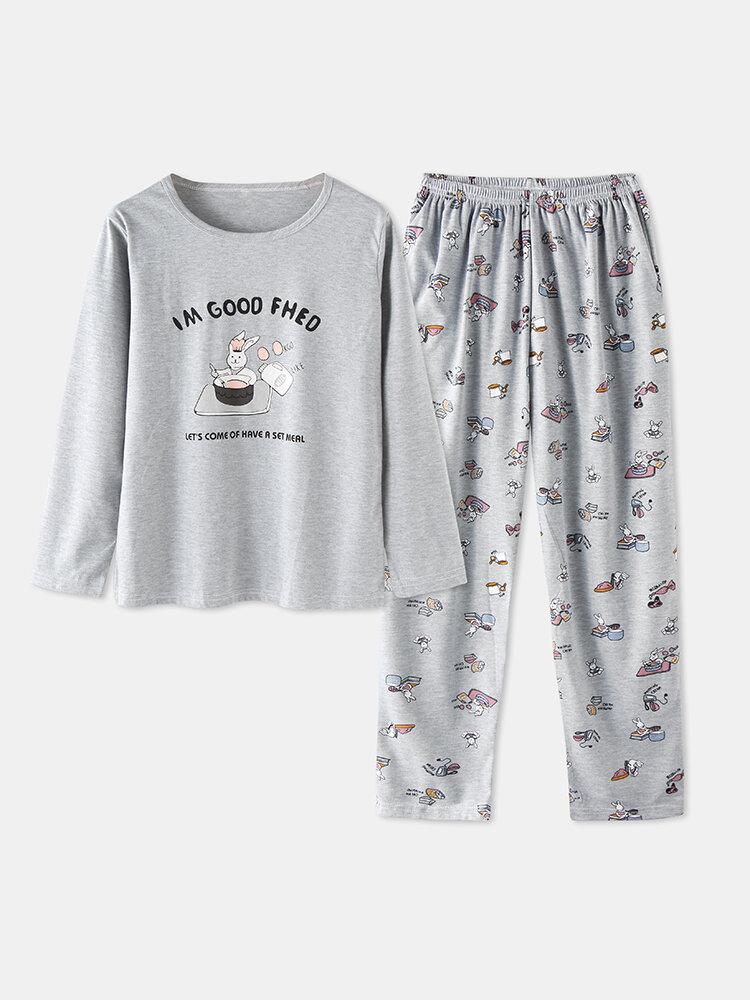 Best Women Cute Cartoon Animal Print Pajamas Set Long Sleeve O-Neck Loungewear You Can Buy