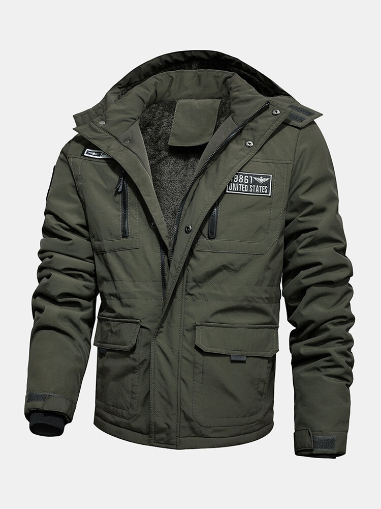 Best Mens Applique Velvet Warm Multi Pockets Hooded Jacket Coats You Can Buy
