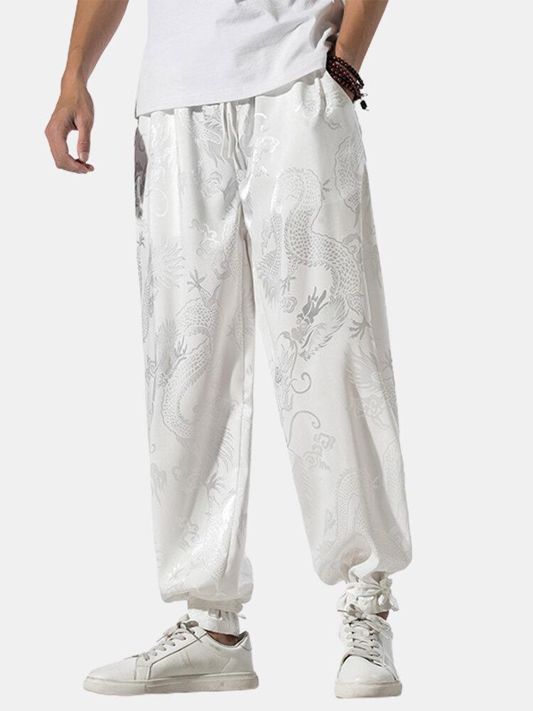 Best Mens Plain Dragon Jacquard Print Loose Casual Drawing Waist Jogger Pants You Can Buy
