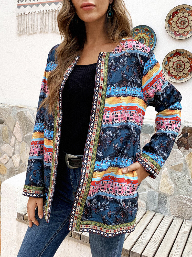 Best Vintage Print Ribbon Patchwork Plus Size Jackets with Pockets You Can Buy
