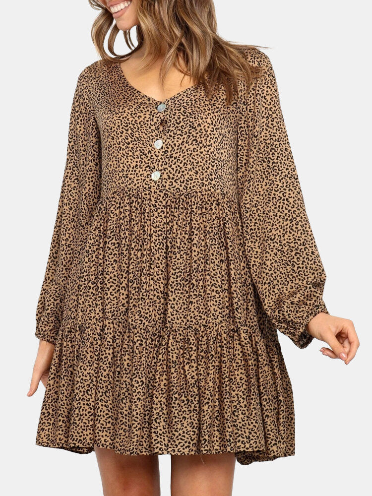 Best Leopard Print Button Long Sleeves V-neck Casual Loose Dress You Can Buy