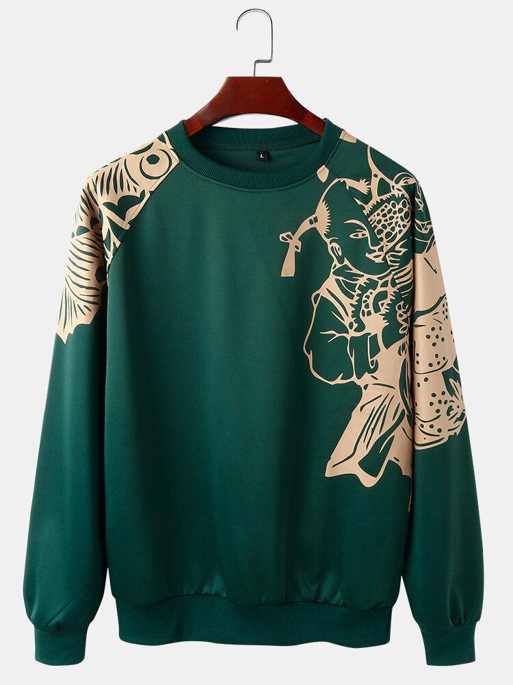 Best Mens Oriental Paper-Cut Art Print Shoulder Panel Casual Designer Sweatshirts You Can Buy