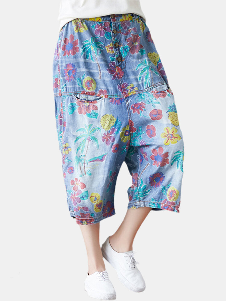 Best Vintage Print Drop Crotch Denim Pant with Pockets You Can Buy
