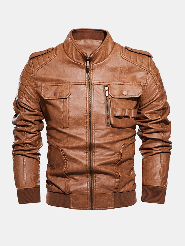 Best Mens Double Chest Pocket Zipper FrontPU Leather Stand Collar Thick Jackets You Can Buy
