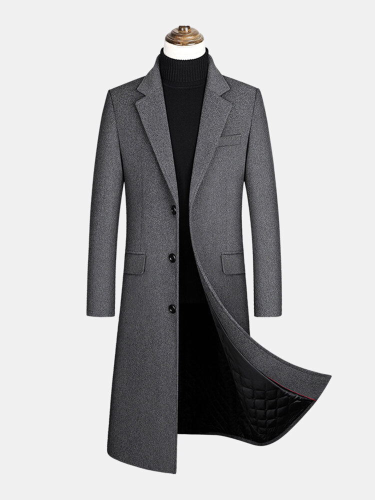 Best Mens Woolen Single-Breasted Flat Collar Casual Long Overcoats With Flap Pocket You Can Buy