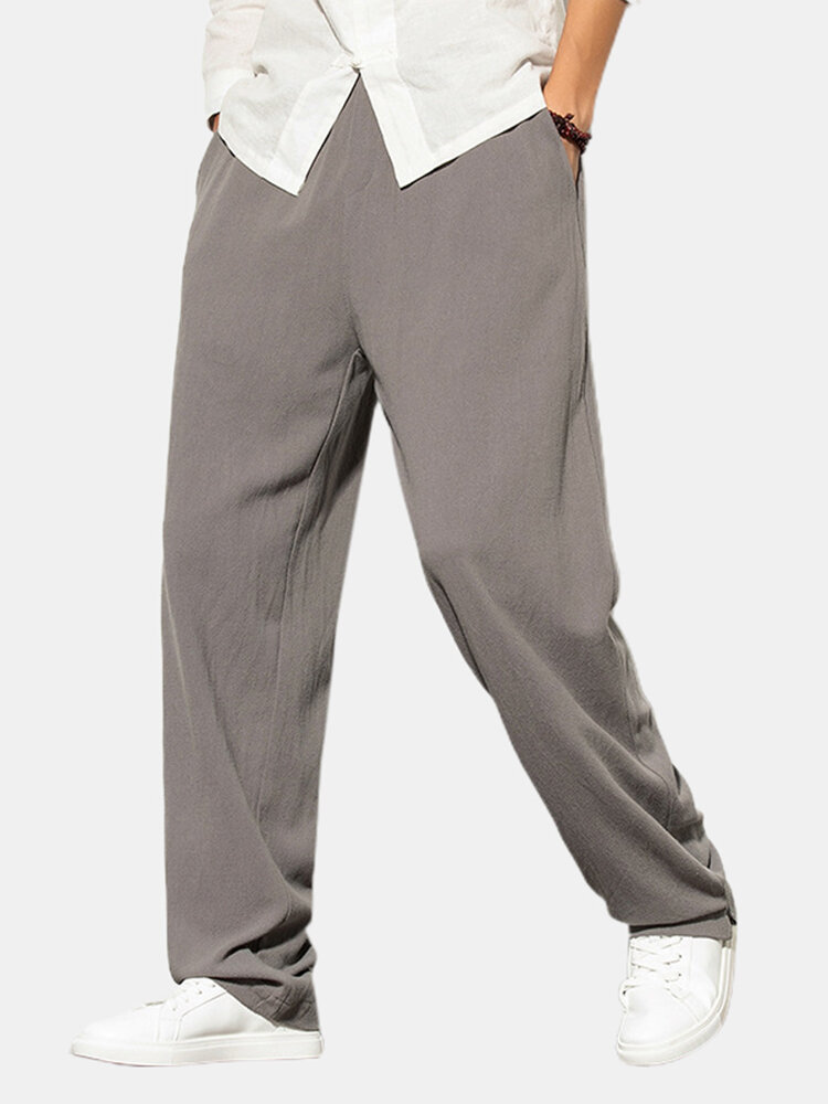 Best Mens Solid Color Cotton Linen Casual Elastic Waist Drawstring Straight Pants You Can Buy