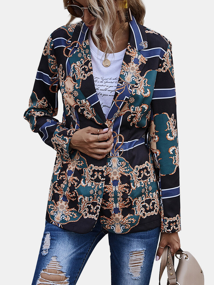 Best Vintage Geometric Print Button Ethnic Long Sleeve Jacket You Can Buy