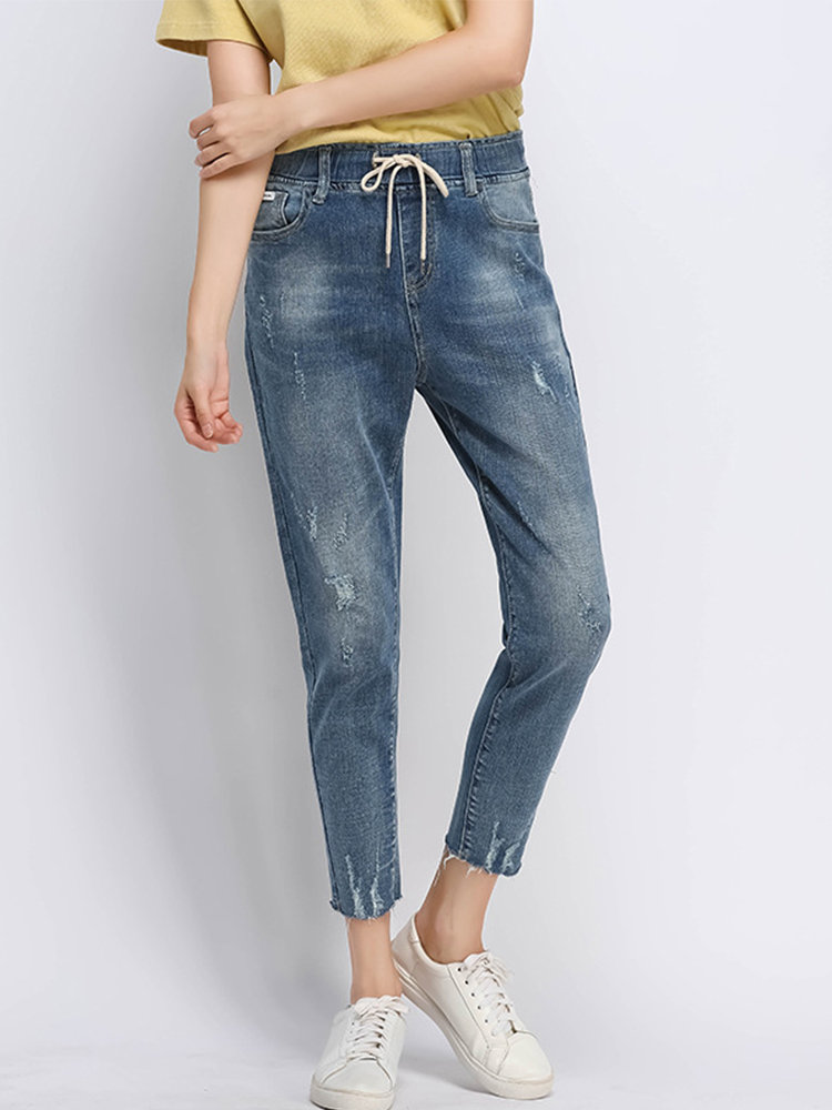 Best Casual Drawstring Hole Jeans for Women You Can Buy