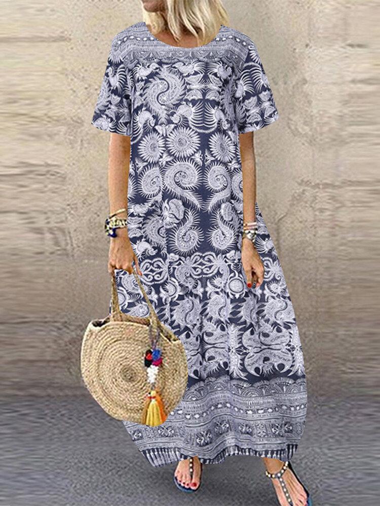 Best Vintage Print Cotton Short Sleeve Plus Size Baggy Maxi Dress You Can Buy