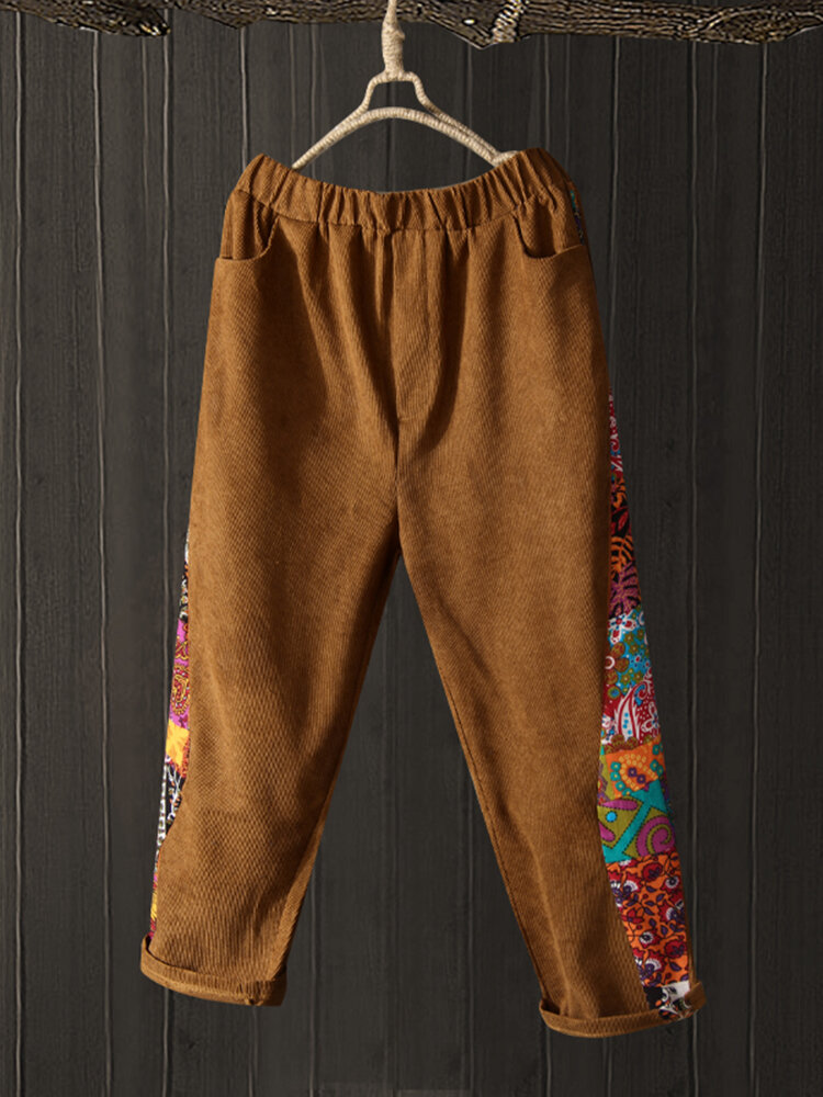 Best Corduroy Printed Patchwork Plus Size Pants You Can Buy