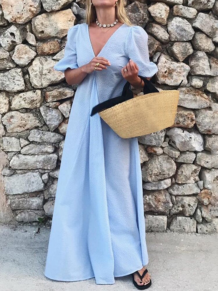 Best Solid Color V-neck Holiday Maxi Dress For Women You Can Buy