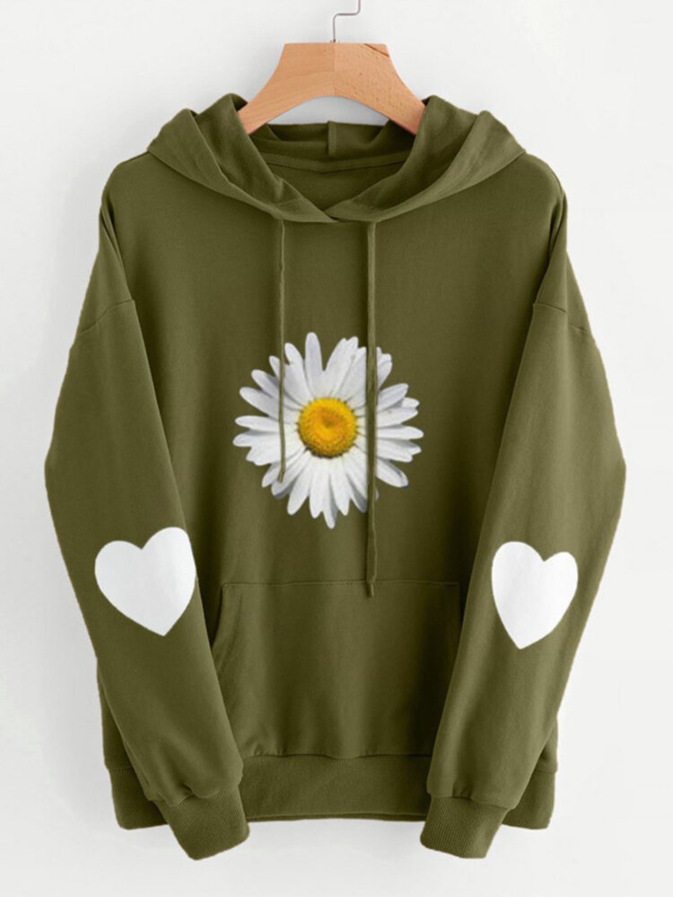 Best Daisy Hearts Print Drawstring Pocket Plus Size Hoodie You Can Buy