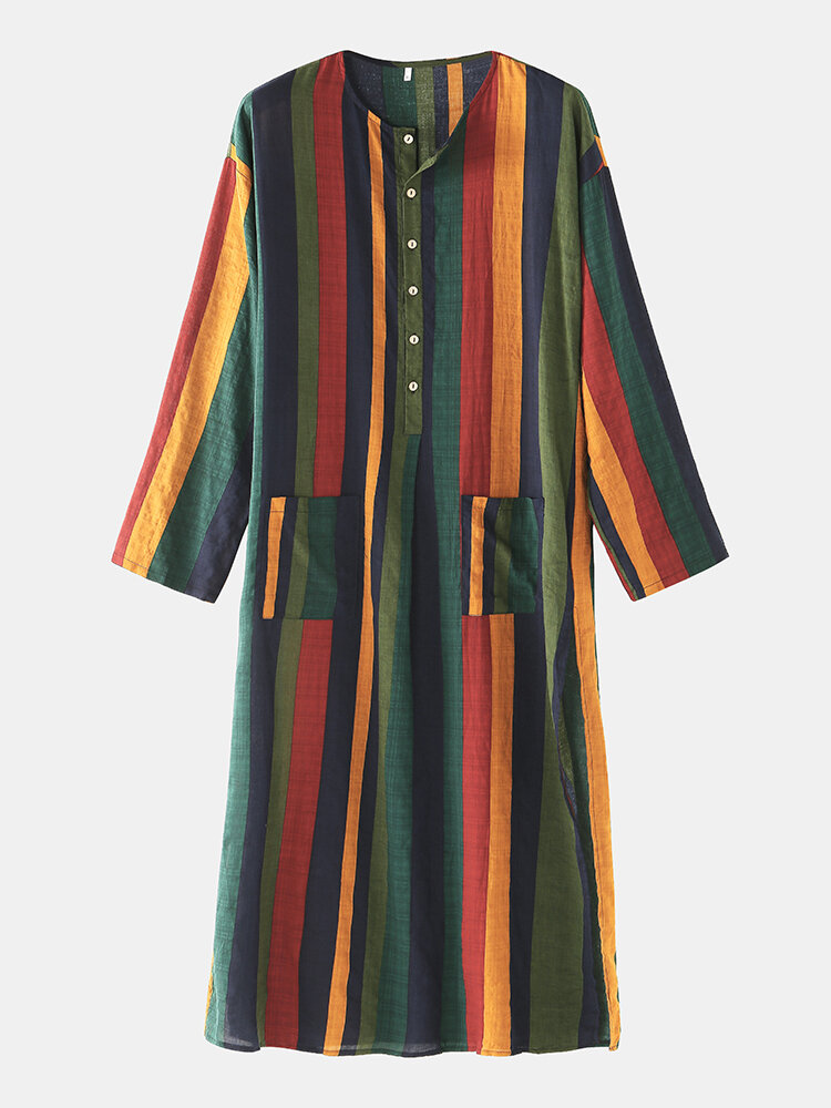 Best Multi-Color Striped Cotton Linen Long Sleeve Thin Slit Hem Design Casual Robes With Waist Pockets You Can Buy