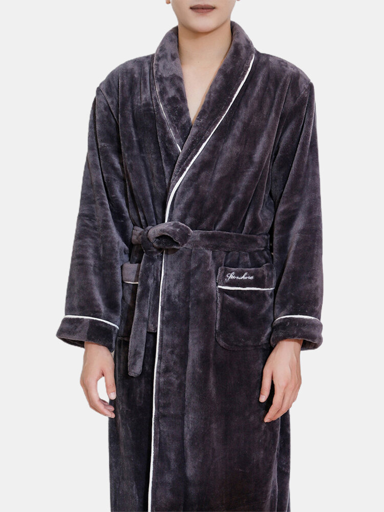 Best Men Flannel Warm Lapel Collar Pajamas Belted Lounge Robe You Can Buy