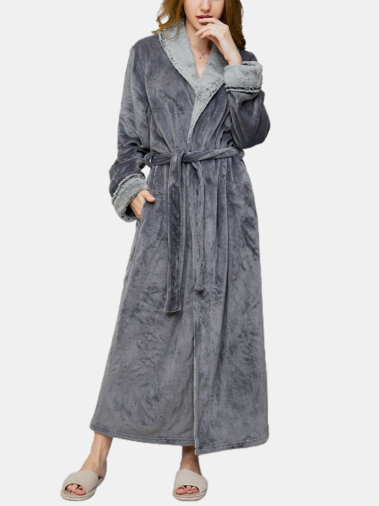 Best Women Flannel Lapel Thicken Warm Cozy Belted Long Robes With Pocket You Can Buy