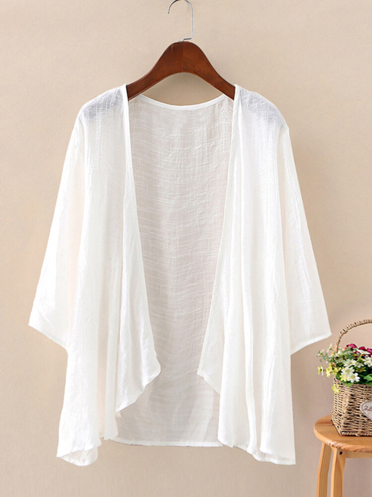 Best Solid Color 3/4Sleeves Casual Thin Cardigan For Women You Can Buy