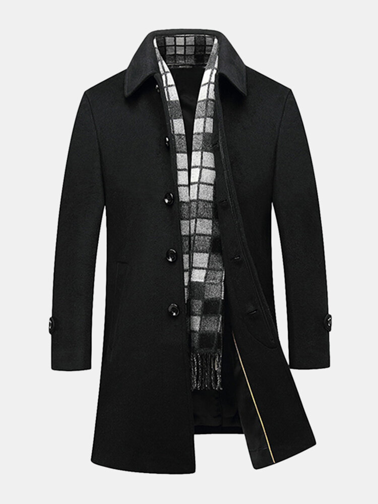 Best Black Business Casual Woolen Jackets Mid Long Trench Coats for Men You Can Buy