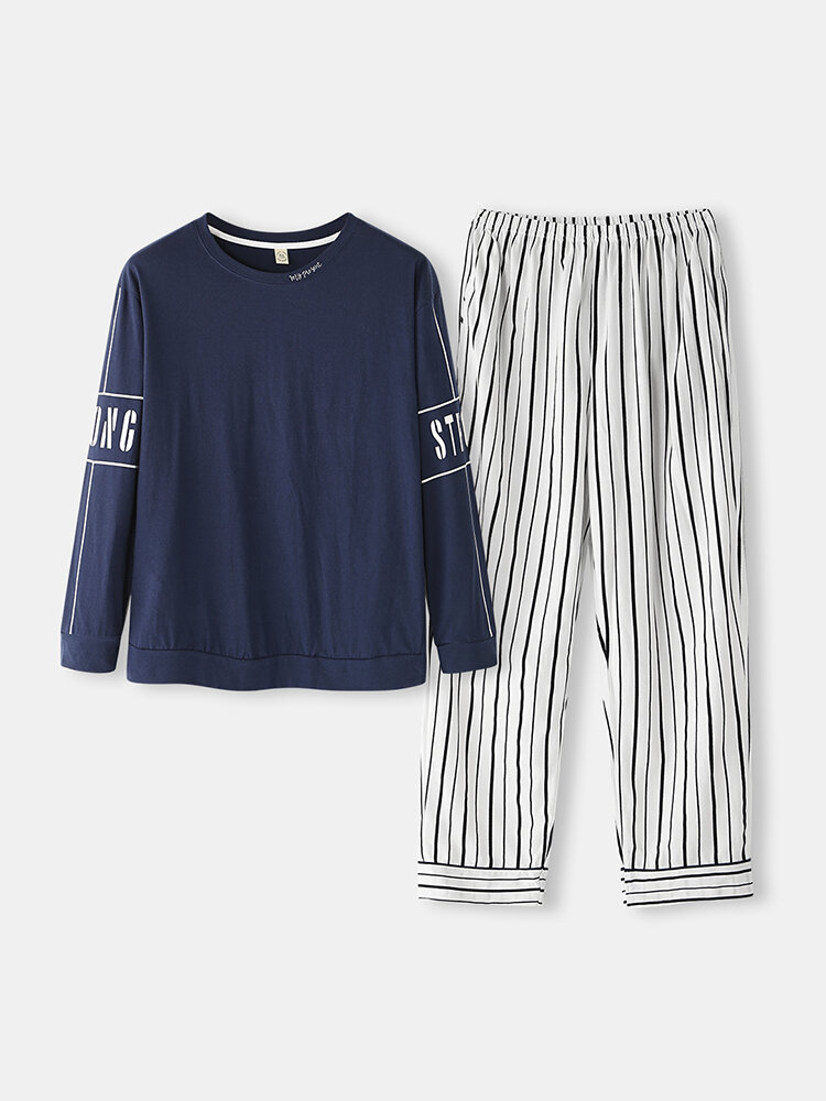 Best Mens Comfortable Sleepwear Sets Letter Printed Long Sleeve Tops & Vertical Striped Pants With Pockets You Can Buy