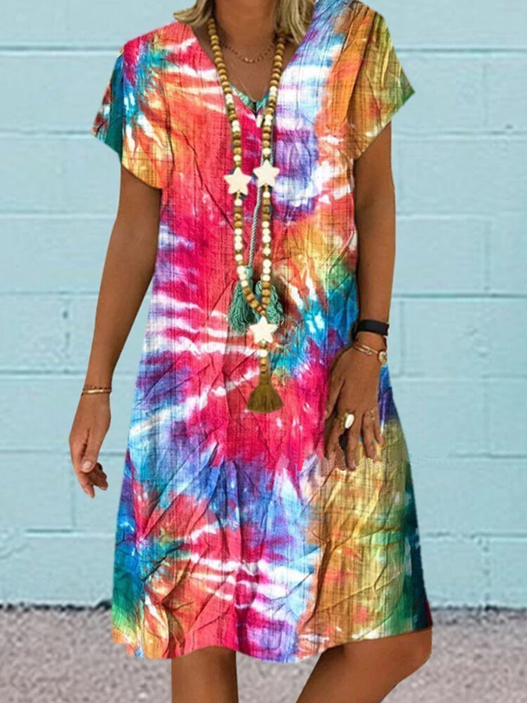 Best Multi-color Printed V-neck Short Sleeve Midi Dress You Can Buy