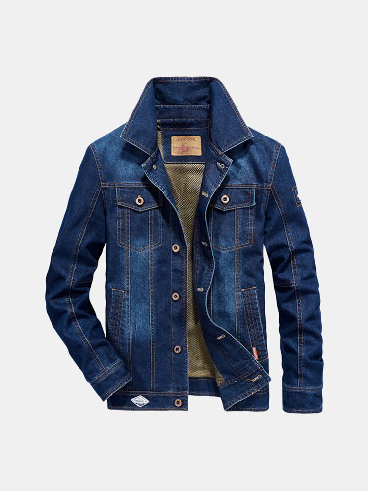 Best Mens Plus Size Denim Embroidery Letter Patchwork Badge Stylish Turn-down Collar Jacket You Can Buy