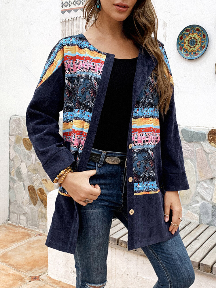 Best Calico Print Patchwork Button Vintage Corduroy Plus Size Jackets You Can Buy