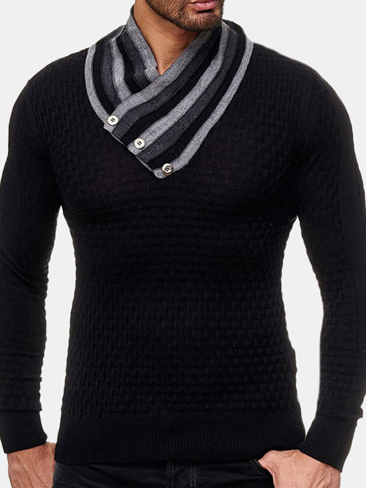 Best Men's Long Sleeve Turtleneck Knit Sweater Casual Basic Black Sweater You Can Buy