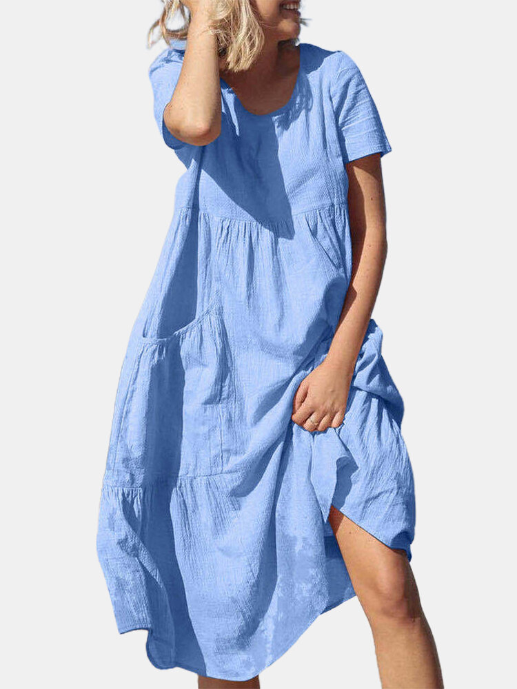 Best Solid Color Short Sleeve O-neck Casual Dress With Pocket You Can Buy