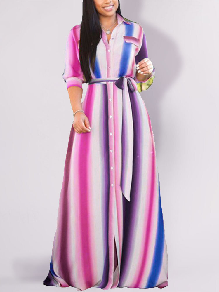 Best Striped Half Sleeve A-line Lapel Maxi Plus Size Dress You Can Buy