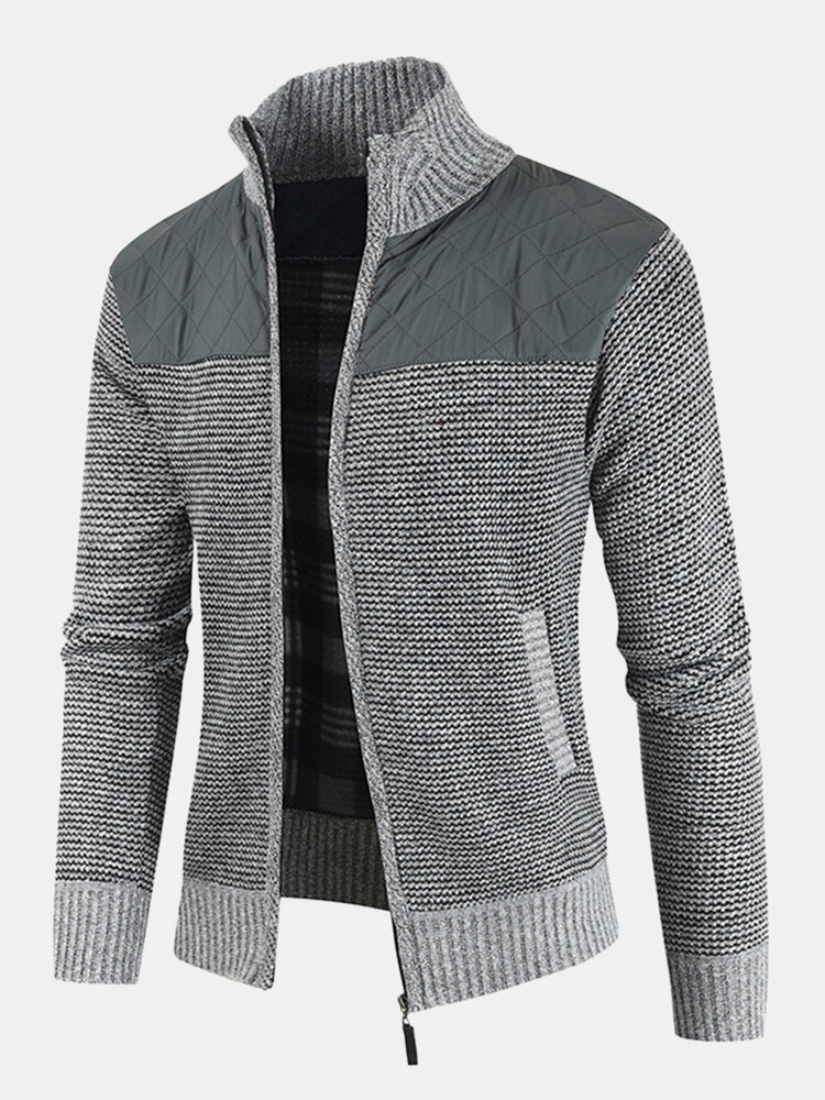 Best Mens Patchwork Zip Front Stand Collar Knit Casual Cardigans With Pocket You Can Buy