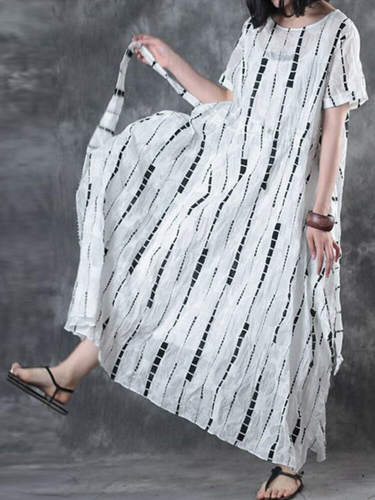 Best Geometric Print Drawstring Waist Short Sleeve Maxi Dress For Women You Can Buy
