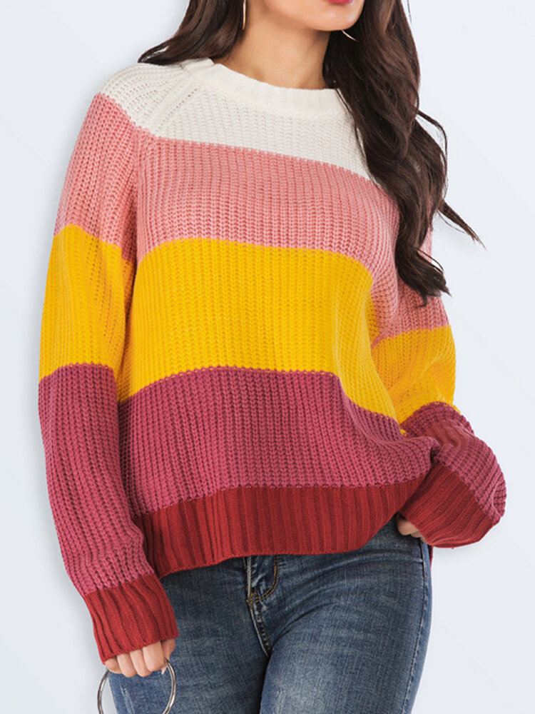 Best Casual Striped O-neck Contrast Color Knitwear Sweater You Can Buy