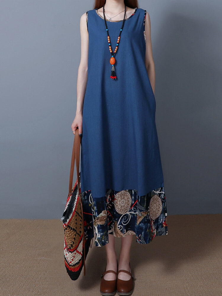 Best Print Patchwork Sleeveless O-neck Vintage Maxi Dresses You Can Buy