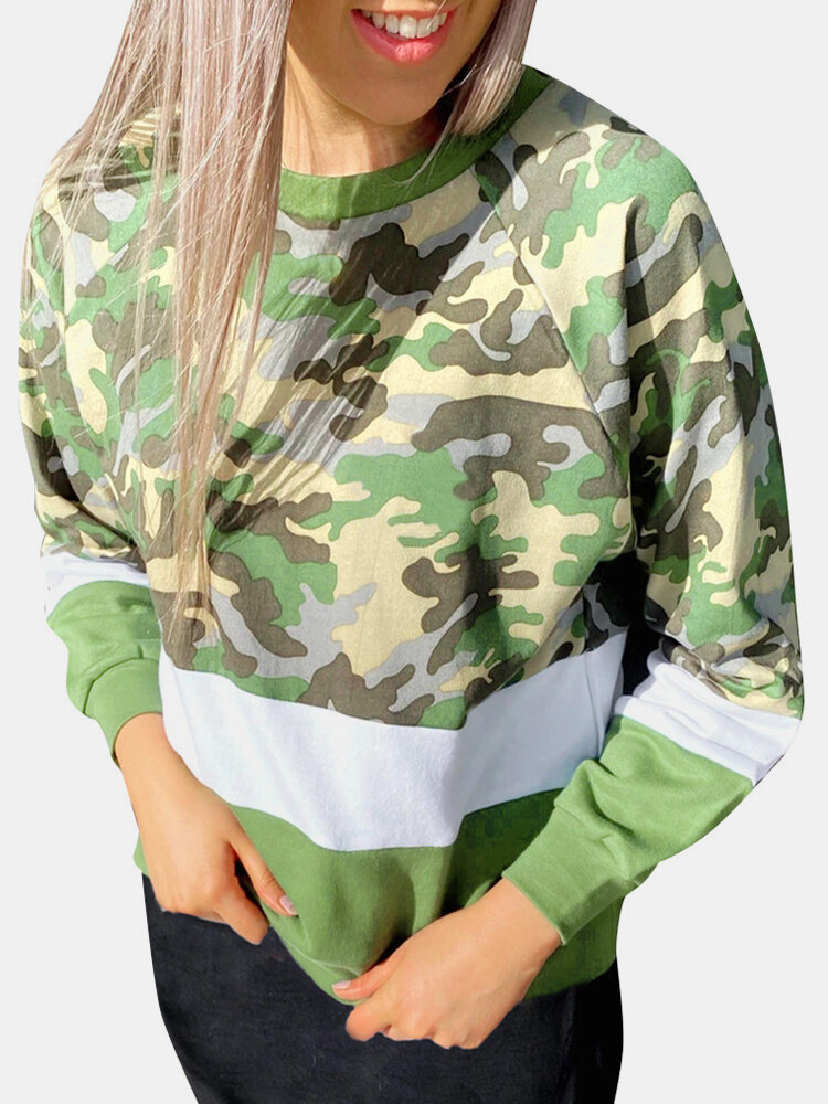 Best Camouflage Print Patchwork O-neck Plus Size Sweatshirt You Can Buy