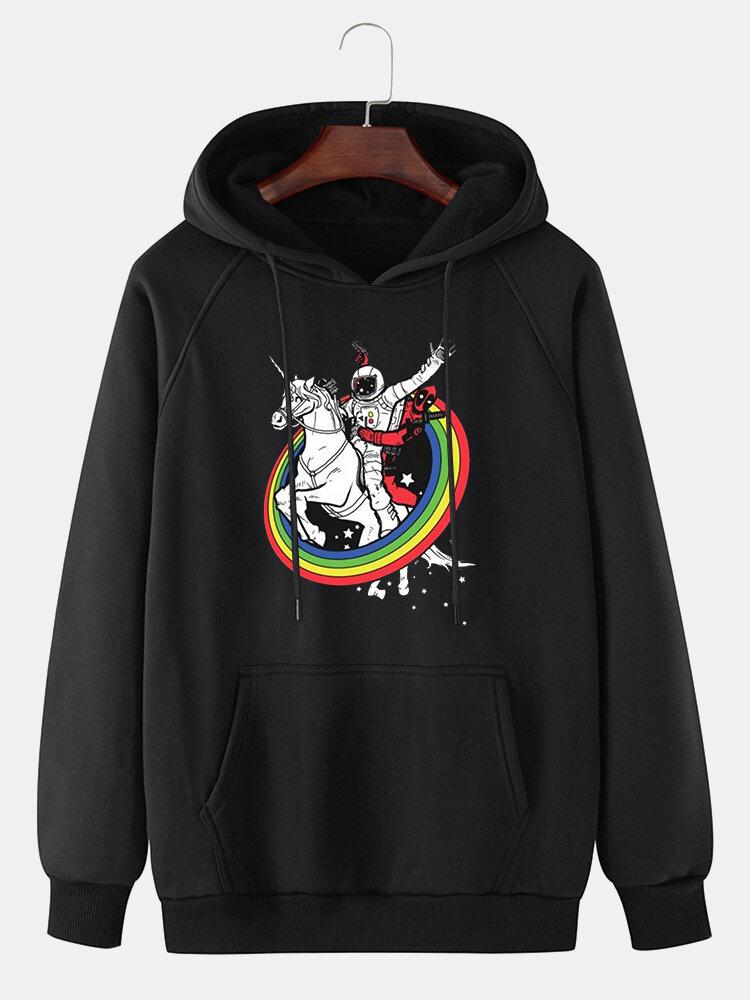 Best Mens 100% Cotton Rainbow Horse Print Raglan Sleeve Drawstring Hoodies You Can Buy
