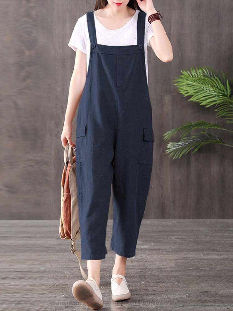 Best Solid Color Straps Plus Size Casual Jumpsuit with Pockets You Can Buy