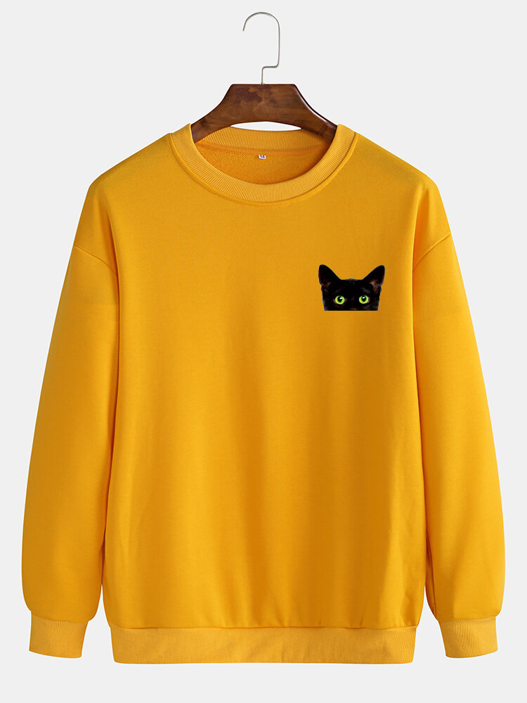 Best Mens Cotton Solid Color Casual Pullover Sweatshirts With Cartoon Black Cat You Can Buy