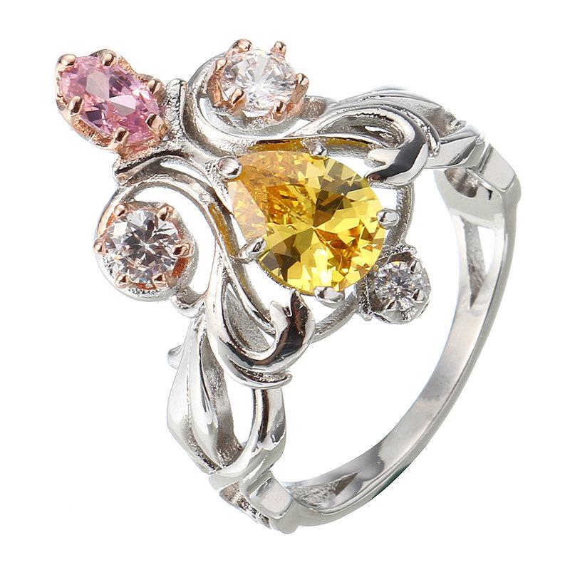Elegante Prinzessin Crown bunte Zirkonia Platin Ring Verlobung Ehering fr Frauen  NewChic