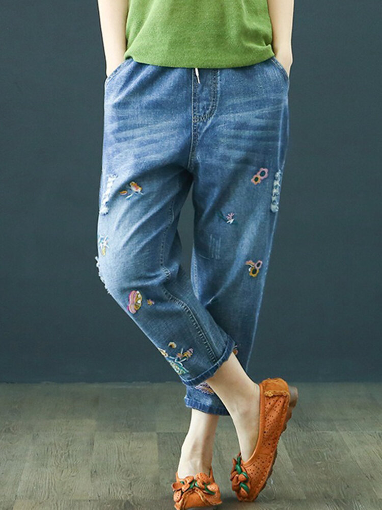 Best Embroidery Elastic Waist Harem Casual Denim You Can Buy
