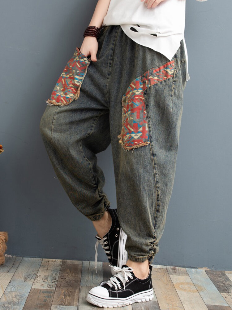 Best Embroidery Patchwork Elastic Loose Harem Denim For Women You Can Buy