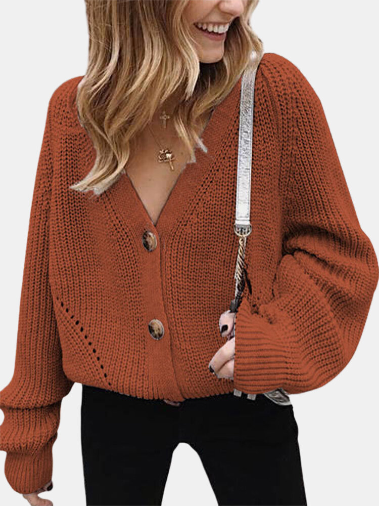 Best Solid Color V-neck Button Long Sleeve Loose Cardigan You Can Buy