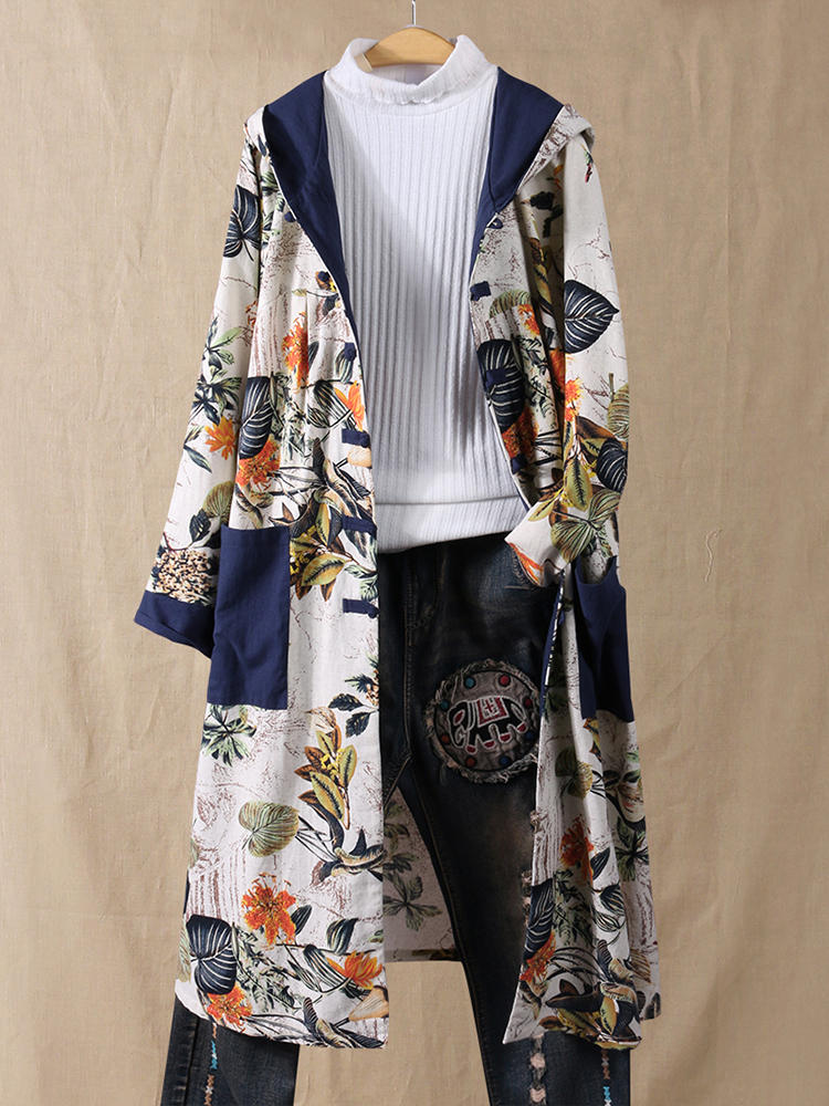 Best Vintage Floral Patchwork Hooded Cotton Plus Size Trench Coat You Can Buy