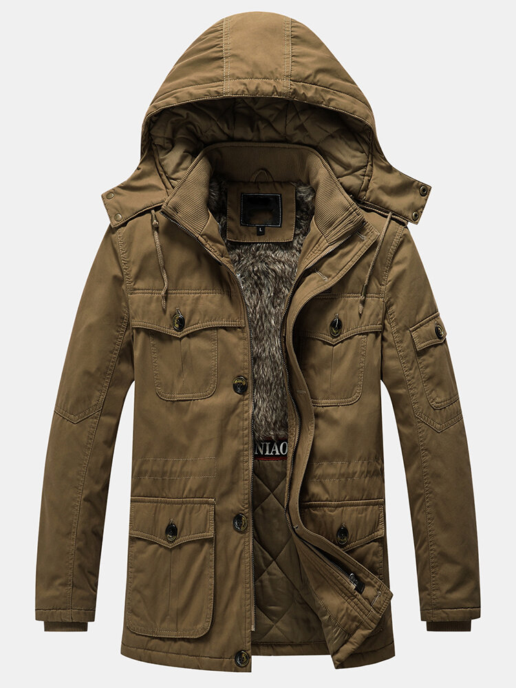 Best Mens Thicken Sherpa Liner Solid Color Fleece Casaul Hooded Coats You Can Buy