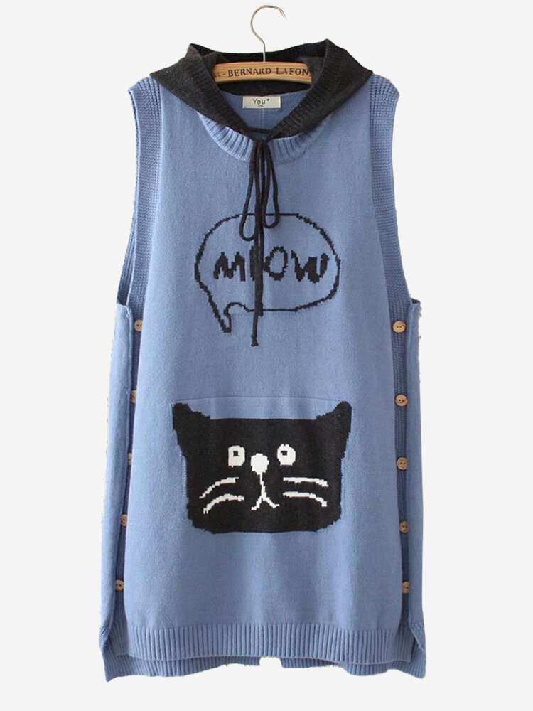 Best Casual Cat Print Button Hooded Patch Sleeveless Sweater You Can Buy