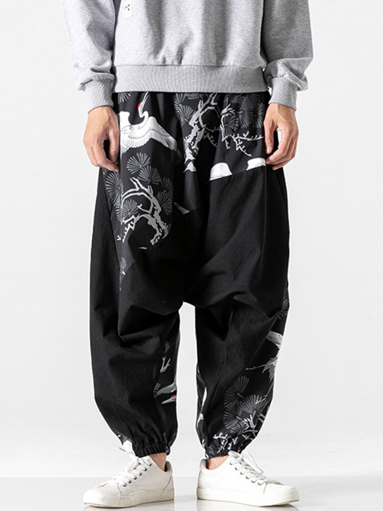 Best Mens Chinese Style White Crane Printed Loose Elastic Waist Casual Harem Pants You Can Buy