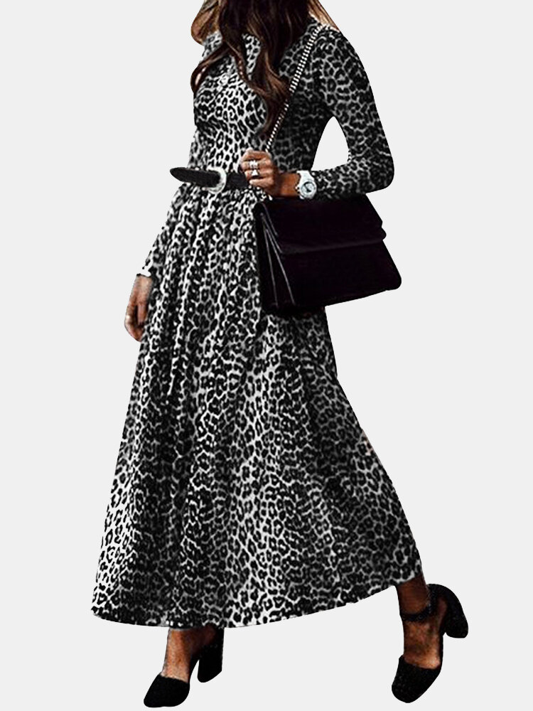 Best O-neck Leopard Print Long Sleeve Maxi Dress For Women You Can Buy